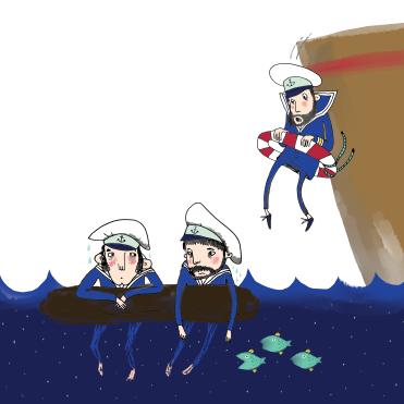 merirosvo-merimiehet vedessä